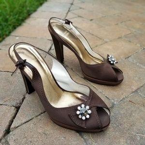 Stuart Weitzman brown satin slingback heels